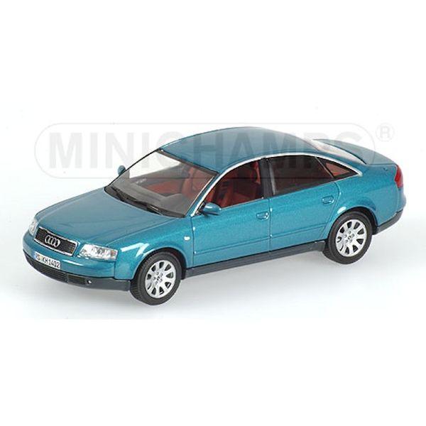 Model car Audi A6 1997 blue green metallic 1:43