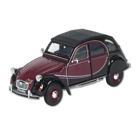 Citroën 2CV 6 Charleston rood/zwart - Modelauto 1:24