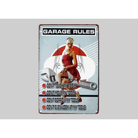 Blechschild Garage Rules