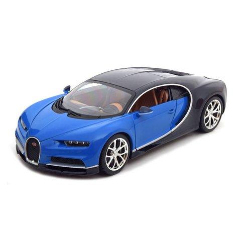 Bugatti Chiron blauw/zwart - Modelauto 1:18