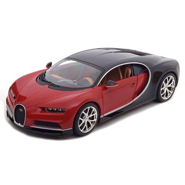 Modelauto Bugatti Chiron rood/zwart 1:18