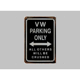 Parking Sign VW 20x30 cm schwarz / silber