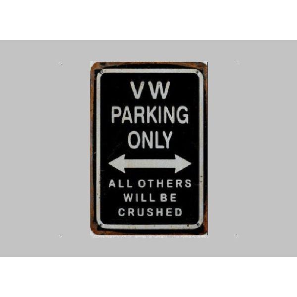 Parking Sign VW 20x30 cm zwart / zilver