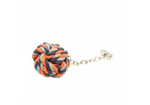 Duvo+ Knoop katoen speelbal met ketting Oranje