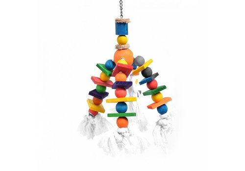 Duvo+ Kleurrijke luster met touw & blokjes