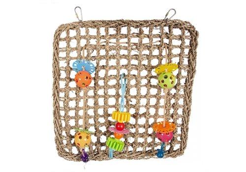 Duvo+ Klimnet in zeegras met kleurrijke speeltjes