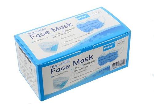 JUNAI Blauwe wegwerp mondmaskers 50 stuks