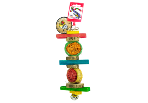 Birrdeeez Papegaai speelgoed rondhout/zaad Small
