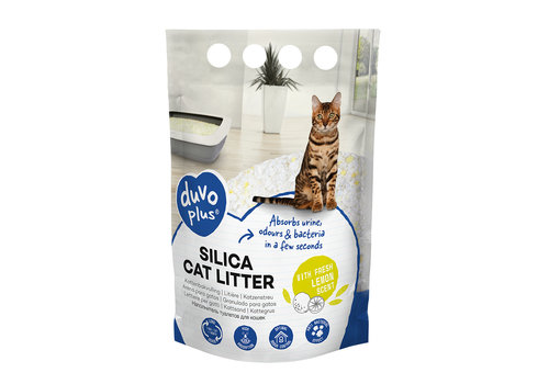 Duvo+ Premium silica kattenbakvulling citroen Geel/wit 5L