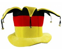 Zylinder-Hut mit Glocken in den Nationalfarben schwarz, rot und gelb