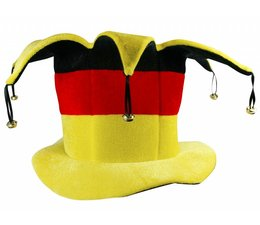 Cylinder hat with bells in the national colors of black, red and yellow