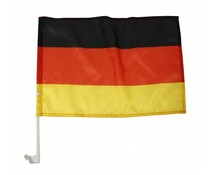 Car window flags in the national colors of black, red and yellow (including PVC tray)