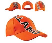 Bedrukte oranje Baseballcaps met de tekst Holland en een afbeelding van de Hollandse leeuw (verstelbare volwassen maat)