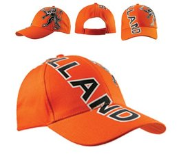Bedrukte oranje Baseballcaps (voorzien van de tekst Holland en een afbeelding van de Hollandse leeuw)