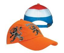 Bedrukte oranje kinder Baseballcaps met de tekst Holland en een afbeelding van de Hollandse leeuw (verstelbare kindermaatassen maat)