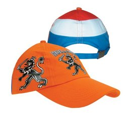 Printed orange Kids Baseball Caps Holland with the text and a picture of the Dutch lion (child size adjustable axle size)