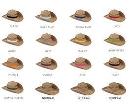 Strohoeden leverbaar in 13 verschillende kleuren!