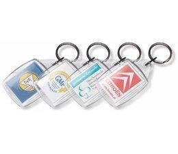 Transparante sleutelhangers rechthoekig (afmeting ca. 4,2 x 6,5 cm)