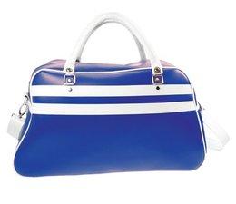 Grote sporttassen in de kleur blauw met witte accenten kopen?
