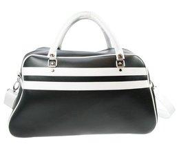 Grote sporttassen in de kleur zwart met witte accenten kopen?