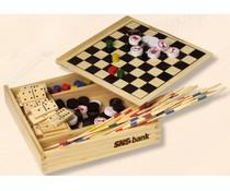 5-in-1 Spellen set, met o.a. dammen, schaken, domino en mikado spel