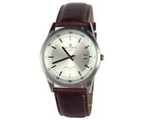 Classic men's watch with leather strap