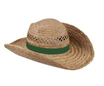 Όμορφη ψάθινα καπέλα διατίθεται σε χρώμα σκούρο πράσινο