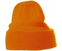 Trendy knitted hats in orange