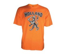 Oranje T-shirts met afbeelding Hollandse Leeuw en tekst HOLLAND