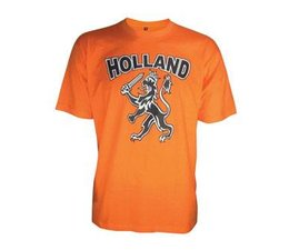 Orange T-shirts with picture and text HOLLAND Dutch Lion