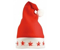 Cheap red Christmas hats with white border (with five stars that emit light, adult size)