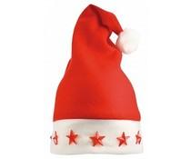 Goedkope rode Kerstmutsen met witte rand (voorzien van 5 sterretjes die licht geven, volwassen maat)
