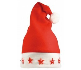 Cheap red Christmas hats with white border (with five stars that light up)