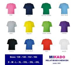 Goedkope T-shirts kopen? Goedkope T-shirts leverbaar in kindermaten 128, 140, 152, 164 en volwassen maten S t/m 4XL