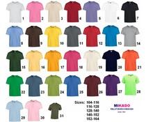 Kwaliteit T-shirts in 31 verschillende kleuren (leverbaar en in kindermaten en volwassen maten)