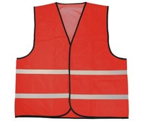 Cheap red Safety Vests with reflective stripes (1 adult unisex size)