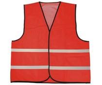 Φτηνές γιλέκα κόκκινο ασφαλείας με ανακλαστικές λωρίδες (1 ενήλικας unisex μέγεθος)