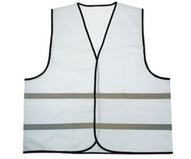 Cheap white Safety Vests with reflective stripes (1 adult unisex size)