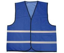 Goedkope blauwe Veiligheidshesjes met reflecterende strepen (1 volwassen uniseks maat)