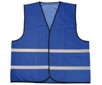 Φτηνές γιλέκα Μπλε ασφαλείας με ανακλαστικές λωρίδες (1 ενήλικας unisex μέγεθος)
