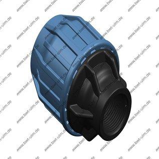 PP Klemmfitting, Verschraubung für PE Rohr, 16 - 63 mm x Innengewinde, DVGW