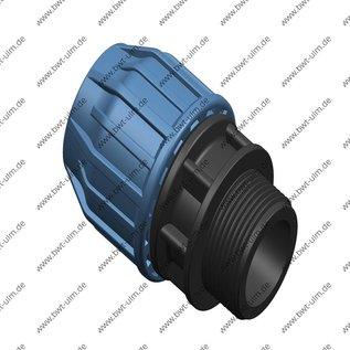 PP Klemmfitting, Verschraubung für PE Rohr 16 - 63 mm x Aussengewinde, DVGW