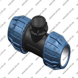 PP Klemmfitting, T-Stück für PE Rohr, 2x 16 - 63 mm x 1x Innengewinde, DVGW