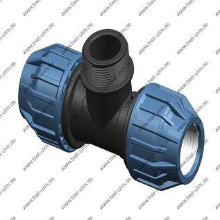 PP Klemmfitting, T-Stück, für PE Rohr 2x 20 - 63 mm, 1x Aussengewinde, DVGW