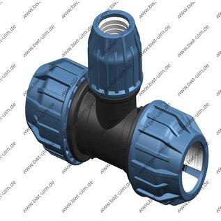 PP Klemmfitting, T-Stück mit Reduzierung, für PE Rohr 20 - 63 mm, DVGW