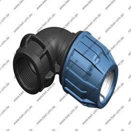 Maitec PP Klemmfitting, Winkel 90°, für PE Rohr 16 - 63 mm, Innengewinde, DVGW