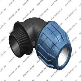 PP Klemmfitting, Winkel 90°, für PE Rohr 16 - 63 mm, Aussengewinde, DVGW