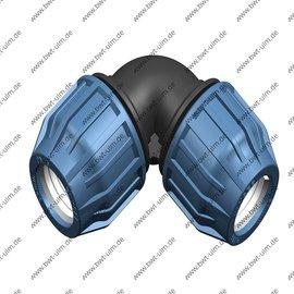 PP  Klemmfitting, Winkel 90°, für PE Rohr, 2x 16 - 63 mm, DVGW