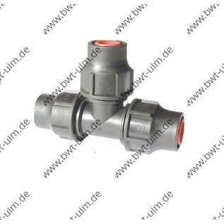 PP Fitting Lock Nutlock, T-Stück, PE Rohr PN6, Tropfrohr 16 + 20 mm