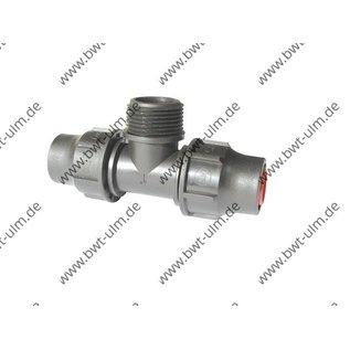 PP Fitting T-Kupplung Lock, PE Rohr PN6, 16 + 20 mm, mit AG